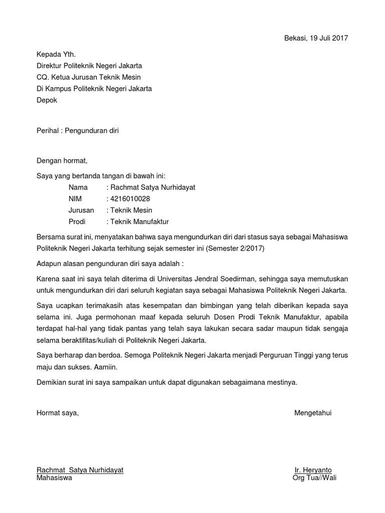 Contoh Surat Pengunduran Diri Dari Universitas - Berbagi ...