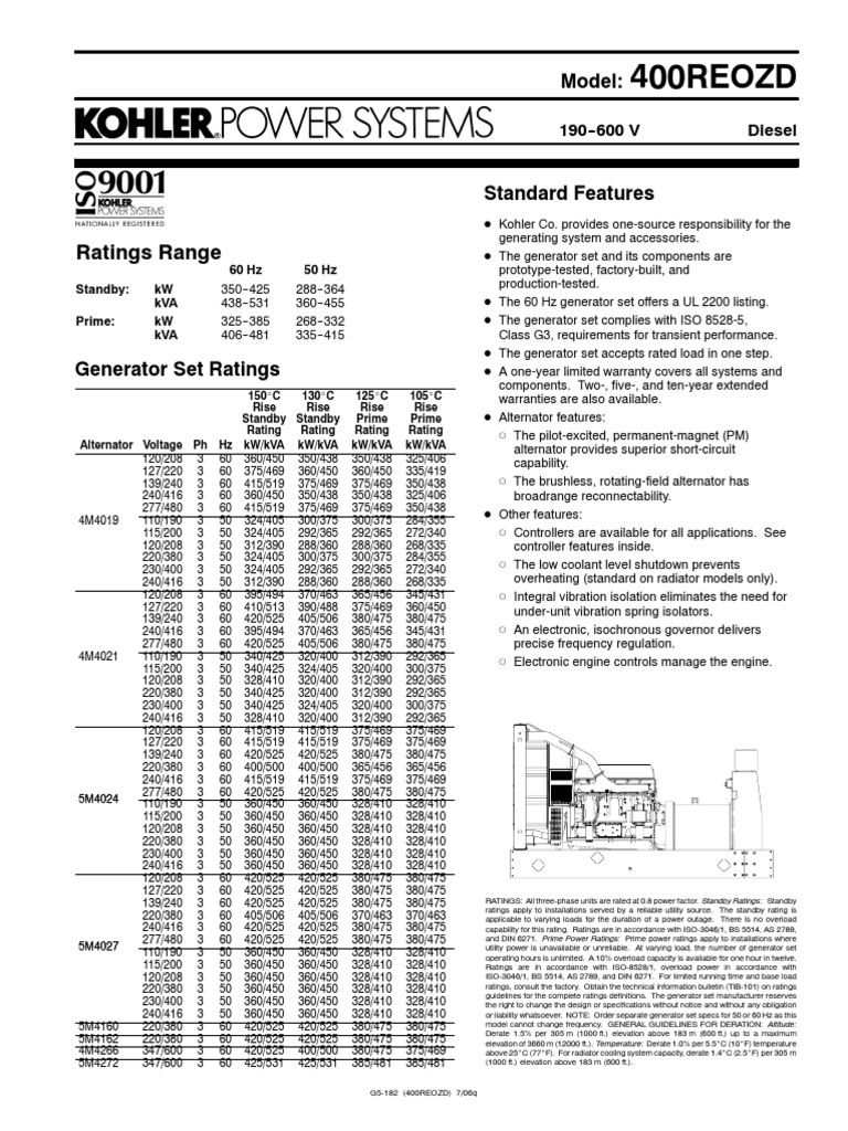 Kohler 400REOZD Detroit Diesel Series 60 Engine Spec Sheet