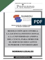 Resolución que otorga la Licencia Institucional a la Universidad Andina del Cusco para ofrecer el servicio educativo superior universitario