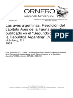 Holmberg 1939 Lista Aves Argentinas