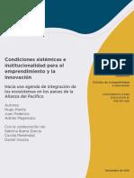 Condiciones Sistémicas e Institucionalidad Para El Emprendimiento y La Innovación