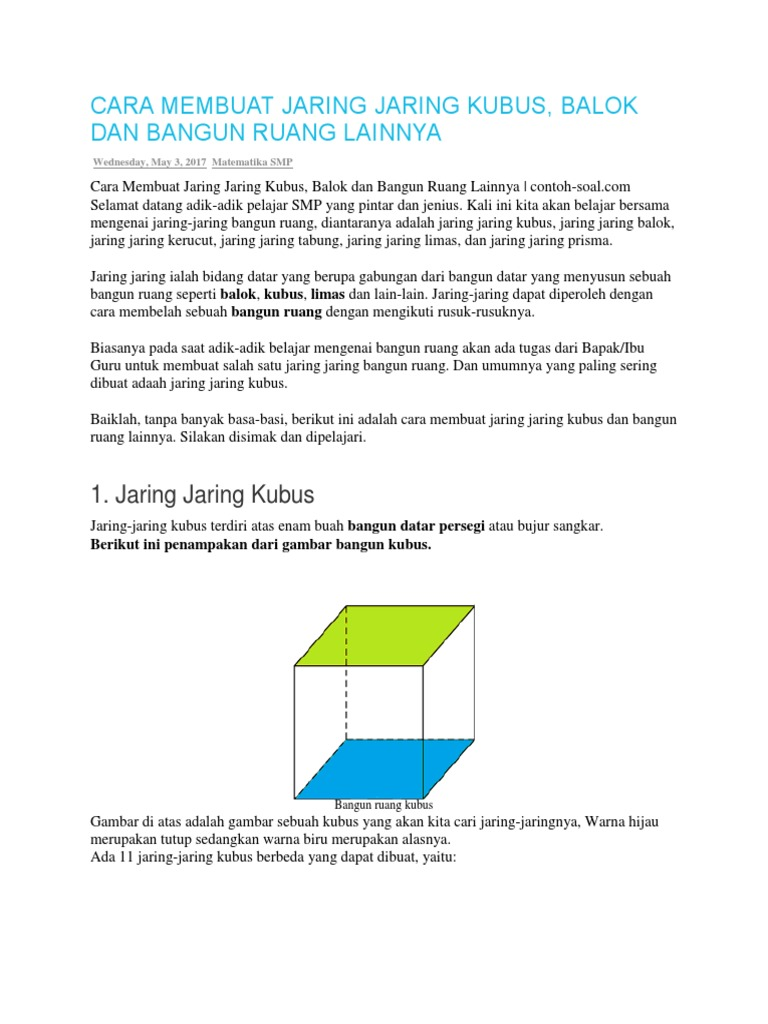 Cara Membuat Jaring Jaring Kubus