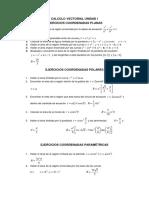Ejercicios Coord Planas, Polares y Parametricas