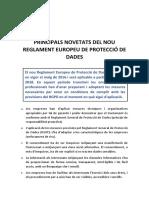 Principals novetats del nou Reglament Europeu de Protecció de Dades