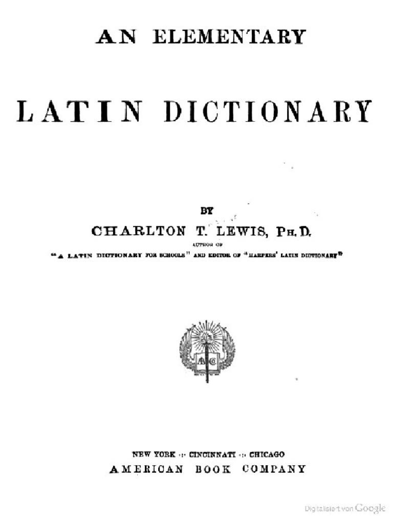 An Elementary Latin Dictionary   PDF