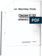 CNC Precision Machine Tools Cincom E332 Operator Manual Type IV