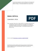 Lowenstein, Alicia (2011). MASA CRITICA