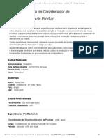 Currículo de Coordenador de Desenvolvimento de Produto Em Indaiatuba - SP - Manager Empregos