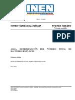 Nte Inen 1205-1 - Agua. Determinación Del Número Total de Bacterias en Placas