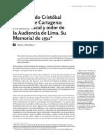 El Licenciado Cristóbal Ramírez de Cartagena Relator, Fiscal y Oidor de La Audiencia de Lima