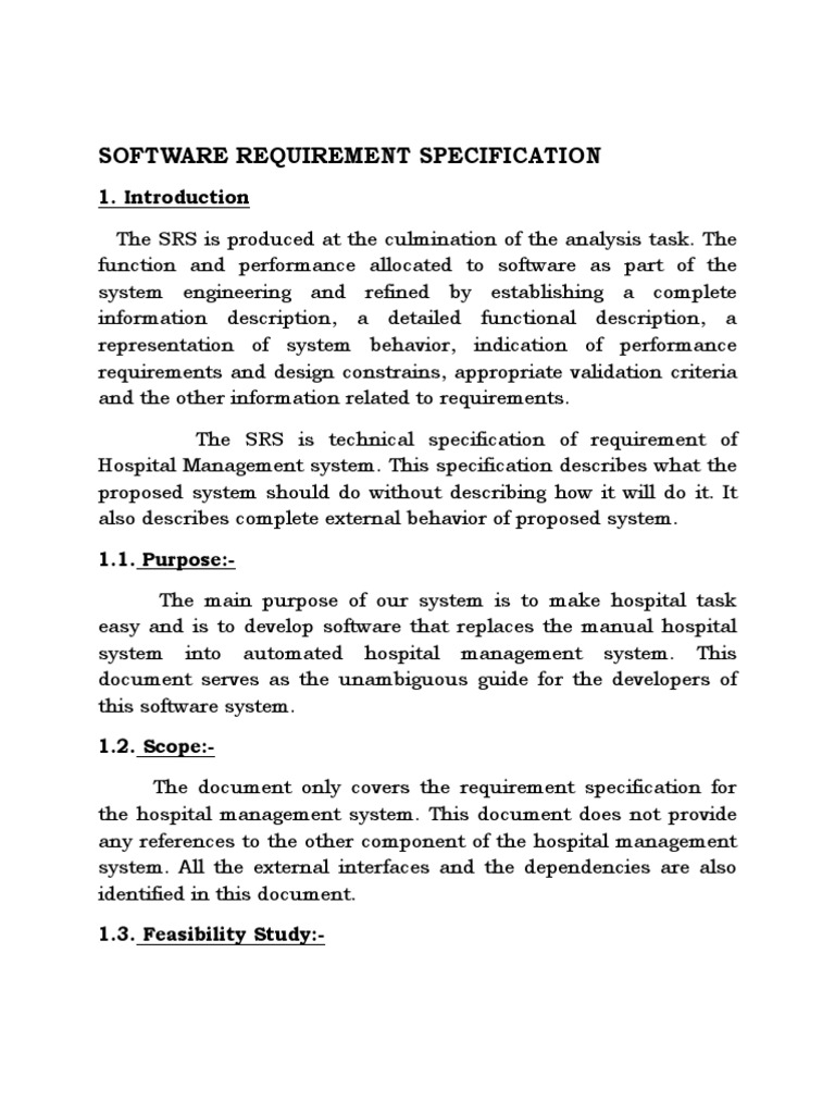 Hostpital Management System Srs Patient Specification Technical Standard