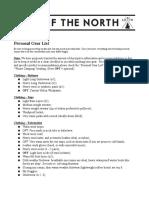 4 Personal Gear List