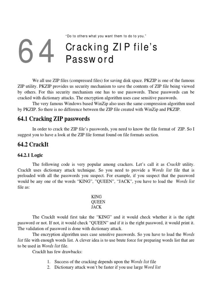 Cracking ZIP File s Password | Zip (File Format) | Areas Of