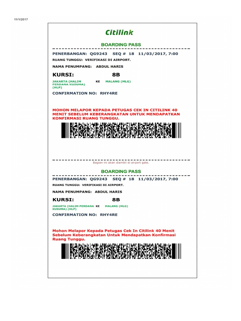 Citilink Boarding Pass Abdul Haris