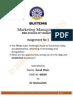 Marketing Management Assignment No 1 (Zarak Khan CMS 40535)