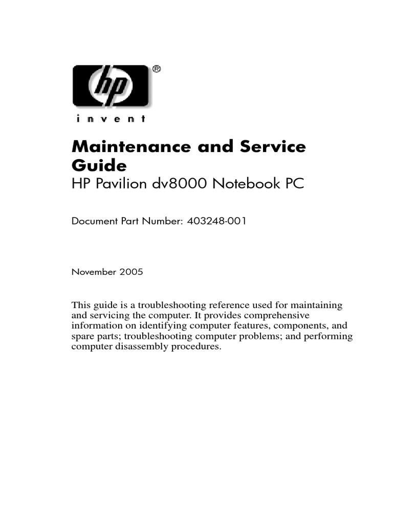 HP Pavilion dv8000 -Maintenance and Service Guide.pdf | Personal Computers  | Usb