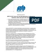 NOTA de PRENSA. SNTP. El 2017 Cierra Con Casi 500 Agresiones a La Libertad de Expresión, 26,5% Más Que El Año Anterior