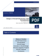 Design of Aircraft Structures Under Special Consideration NDT