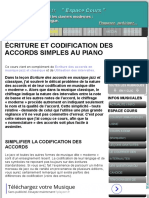 Codification Des Accords Simples Au Piano