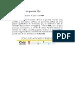 Comunicado de Prensa 154
