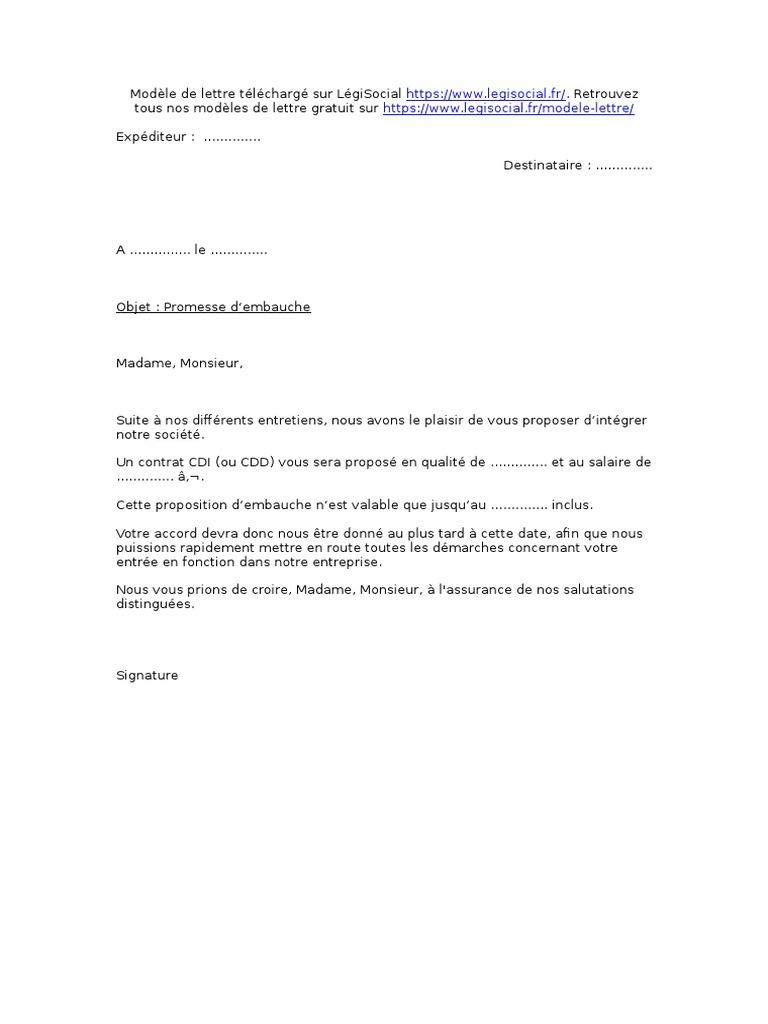Lettre De Promesse D Embauche Legisocial
