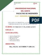 Encuesta Nutricional a La Poblacion de Tercera Edad en El a.h Nicolas Garatea