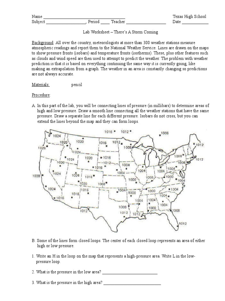 Lab Worksheet - There's a Storm Coming | Cloud | Contour Line