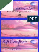 Gift Certificates for You by María del Rosario Soto Román
