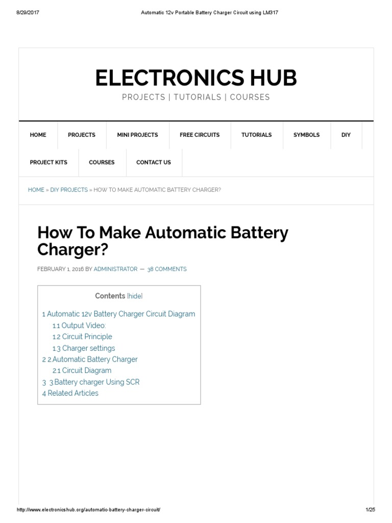 Circuit Diagram Battery Charger Using Scr Schematic Diagrams 12 Volts Car Automatic 12v Portable Lm317 For