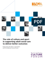The Role of Culture and Sport in Supporting Adult Social Care to Deliver Better Outcomes