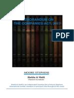 Memorandum on the Companies Act, 2017