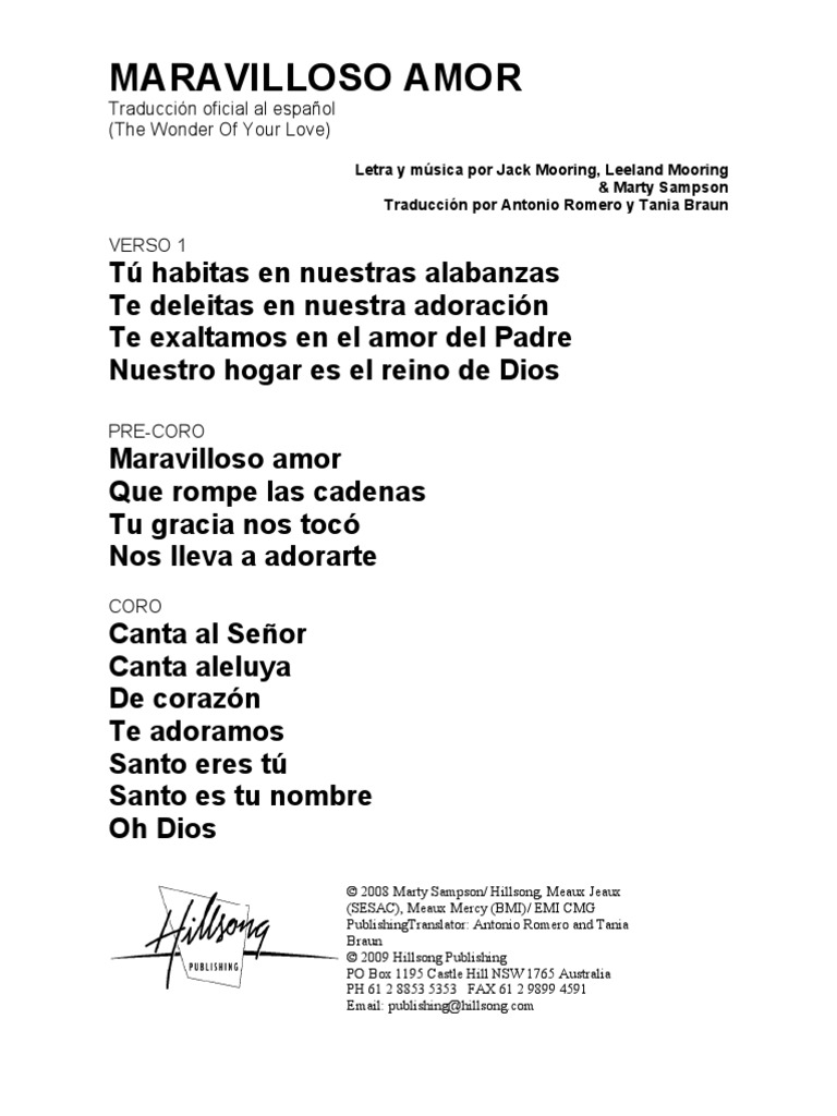 The Wonder Of Your Love Spanish Official Translation