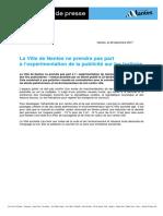 2017-12-28 Publicité Sur Trottoirs - Décret Pour Expérimentation - CP (MM)