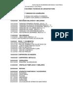 Especificaciones Tecnicas de Sanitarias