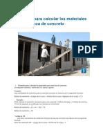 Fórmulas Para Calcular Los Materiales Para Una Loza de Concreto
