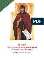 Slujba Sf Alexandru Neva