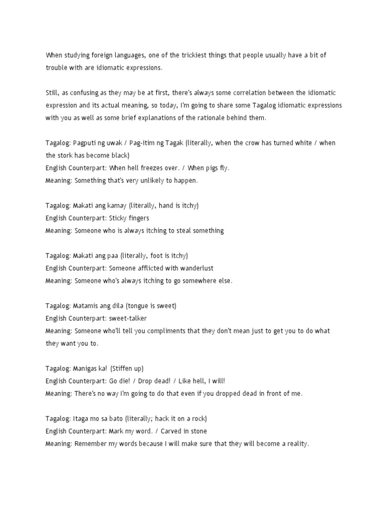 Finals Translation | Tagalog Language | Languages