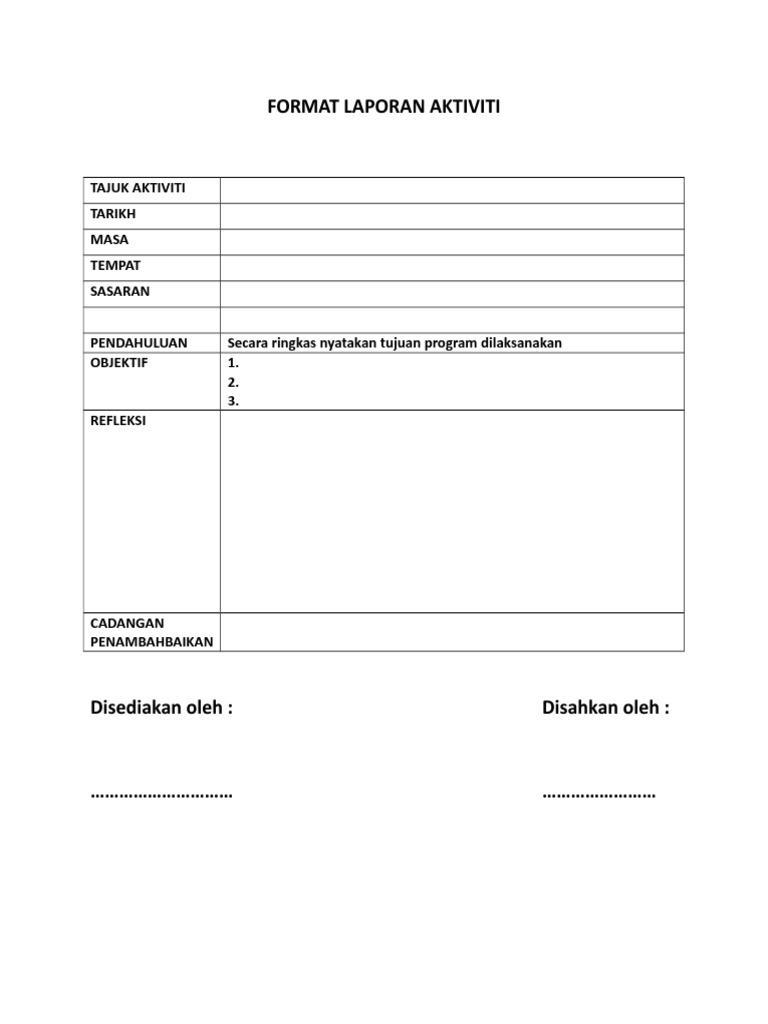 Format Laporan Aktiviti Prasekolah Docx