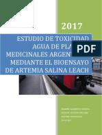 Estudio de Toxicidad Agua de Plantas Medicinales Argentinas Mediante El Bioensayo de Artemia Salina Leach