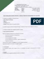 Recommandations Pour La Redaction Du Memoire