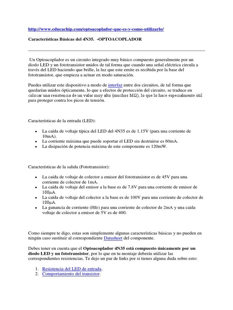 Circuito Optoacoplador : 349306311 caracteristicas basicas del 4n35