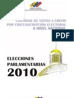 Votos a Emitir 2010, documento CNE, para 26 de septiembre 2010