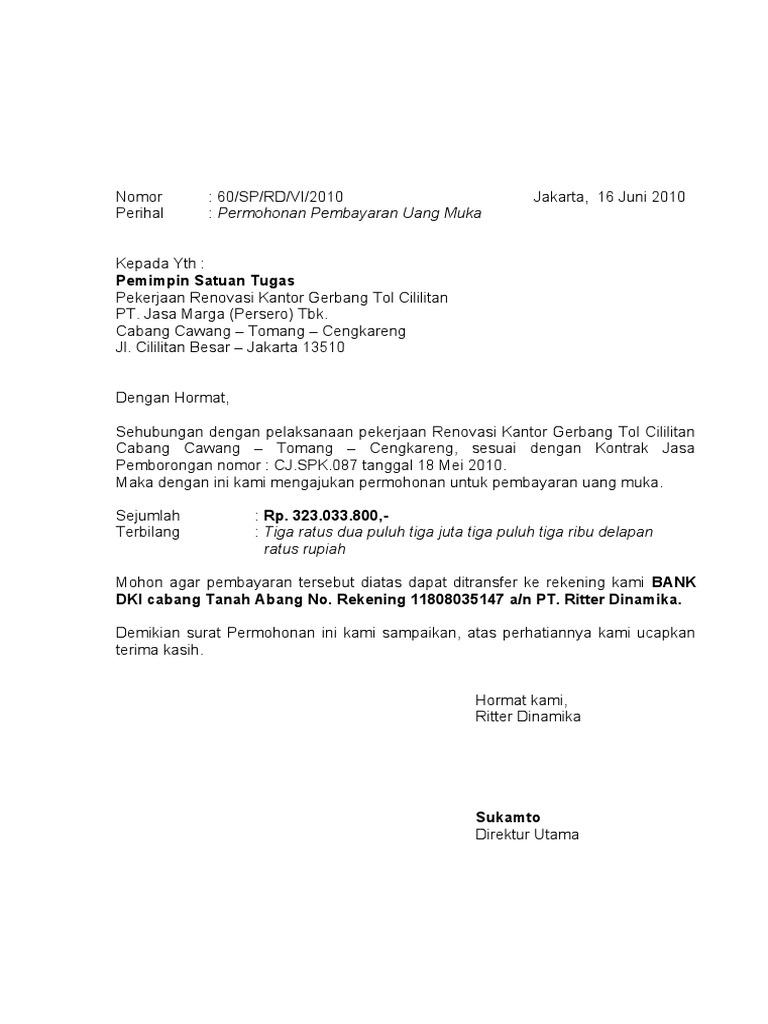 Contoh Surat Tagihan Pembayaran Proyek - Aneka Macam Contoh