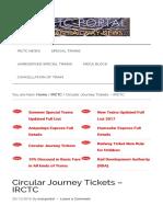 Circular Journey Tickets - Irctc – Indian Railway News