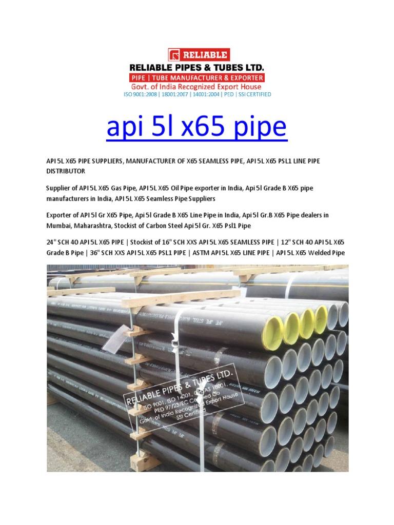api 5l x65 pipe