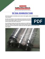 Ss316l Seamless Tube