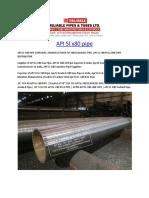 API 5l x80 pipe