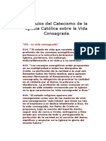 Artículos Del Catecismo de La Iglesia Católica Sobre La Vida Consagrada