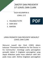 Ppt Upaya Promotif Dan Preventif Menurut Leavel Dan Clark