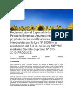 Régimen Laboral Especial de La MyPES